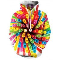 3D Colorful Tube Printed Hoodie
