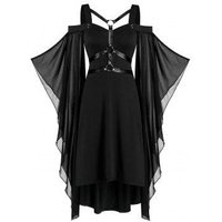 Chiffon Batwing Sleeve Lace-up Harness Insert High Low Dress