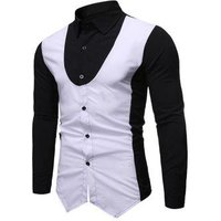 2 in 1 Color Block Long-sleeved Shirt