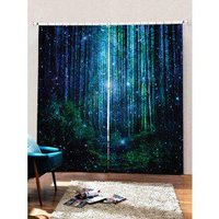 2PCS Fireflies Forest Pattern Window Curtains