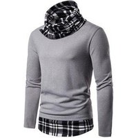 2 in 1 Plaid Trim Cowl Neck Pullover Sweater