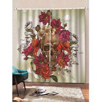 2 Panels Halloween Flowers and Skull Print Window Curtains