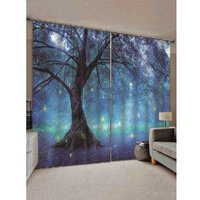 2 Panels Print Tree Glowworm Waterproof Window Curtains