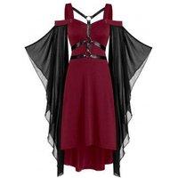 Chiffon Batwing Sleeve Lace-up Harness Insert High Low Dress