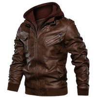 2 in 1 Faux Leather Zip Accent Hooded Jacket