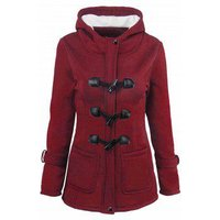 Fleece Lining Hooded Horn Button Plus Size Jacket