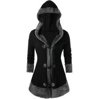 Plus Size Hooded Faux Fur Horn Button Cable Knit Cardigan
