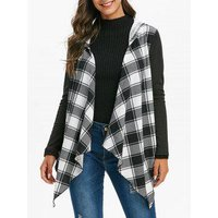 Hooded Plaid Asymmetric Open Front Cardigan