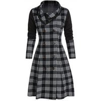 Houndstooth Plaid Print Double Breasted Skirted Coat