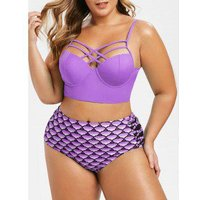 Plus Size Scale Print Criss Cross Bustier Mermaid Bikini Swimsuit