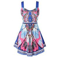 Plus Size Butterfly Print Buttoned Backless Tunic Tank Top