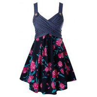 Plus Size Flower Print Crossover Ruched Tunic Tank Top