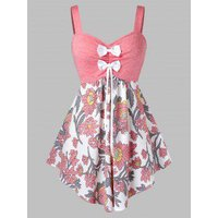 Plus Size Bowknot Flower Print Backless Tunic Tank Top
