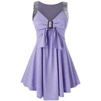 Plus Size Bowknot Sequined Sweetheart Neck Tunic Tank Top