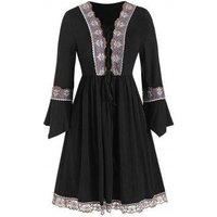 Embroidered Lace-up Plus Size Tunic Top
