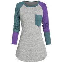 Color-blocking Raglan Sleeve Pocket Tunic Top