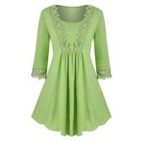 Scoop Laced Trim Plus Size Tunic Top