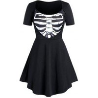 Plus Size Bone Printed Fit And Flare Tunic Top
