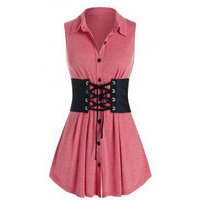 Plus Size Button Up Swing Tank Top With Lace Up Corset Belt
