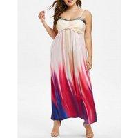 Plus Size Tie Dye Sequins Crossover Maxi Dress