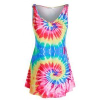 Plus Size Spiral Tie Dye Print Tunic Tank Top