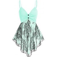 Lace Insert Ruched Asymmetric Cami Tank Top