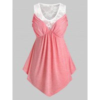 Plus Size Lace Panel Sheer Frilled Tunic Tank Top