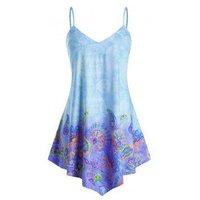Plus Size Paisley Flower Print Tunic Cami Top