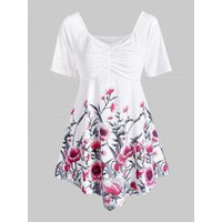 Ruched Floral Tunic Top