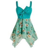 Plus Size Bowknot Hanky Hem Flower Print Tunic Tank Top