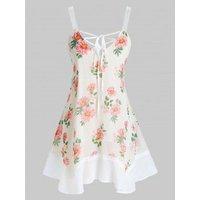 Plus Size Chiffon Flower Print Lace Up Tunic Tank Top