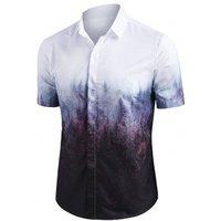 Misty Forest Print Button Up Short Sleeve Shirt