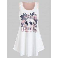 Plus Size Skull Flower Printed Tunic Tank Top