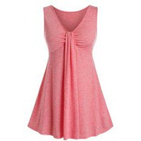 Plus Size V Neck Tunic Casual Tank Top