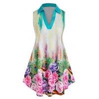 Plus Size Flower Tie Dye V Cut Tunic Tank Top