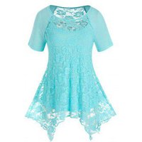 Plus Size Lace Handkerchief Top and Camisole Set