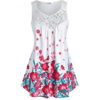 Plus Size Flower Print Lace Yoke Tunic Tank Top