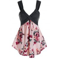 Plus Size Flower Print Plunge Backless Tunic Tank Top