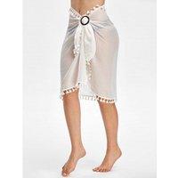 Tassel See Thru Wrap Sarong Cover Up Skirt