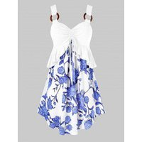 Plus Size Flower Print Cinched Peplum Curved Tunic Tank Top