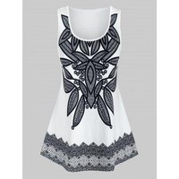 Plus Size Patterned Round Neck Tunic Tank Top