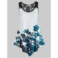 Plus Size Flower Print Lace Insert See Thru Tunic Tank Top