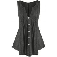 Plus Size V Cut Buttoned Tunic Tank Top