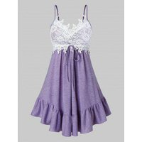 Plus Size Lace Panel Backless Flounce Hem Camisole