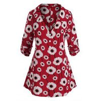 Plus Size Flower Print Plunge Roll Up Sleeve Tunic Top