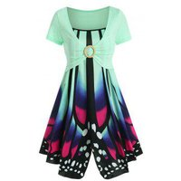 Butterfly Print Sundress with O Ring Crop Top