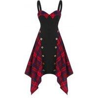 Tartan Insert Button Asymmetrical Cami Dress