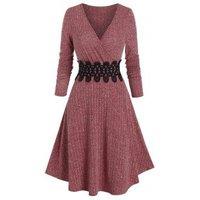 Waist Applique Ribbed V Neck Wrap Dress