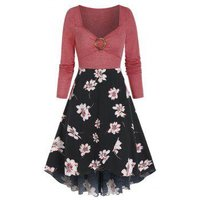Floral Print O-ring High Waist Tulip Hem Dress