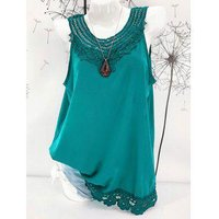Crocheted Lace Panel Tunic Tank Top